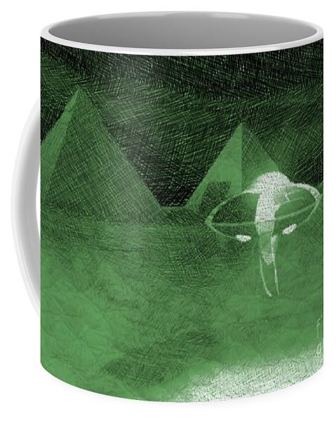 Egypt Coffee Mug featuring the drawing Ufo Near Pyramids by Raphael Terra