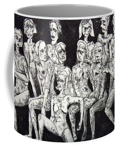 Etching Coffee Mug featuring the print Ugly Girls by Thomas Valentine