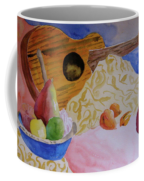 Ukelele Coffee Mug featuring the painting Ukelele by Beverley Harper Tinsley