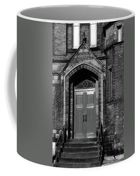 Church Coffee Mug featuring the photograph Ukrainian Catholic Church Bw by Karol Livote