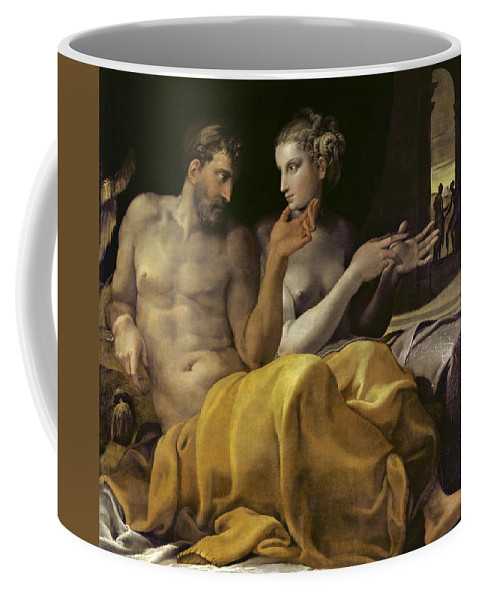 Francesco Primaticcio Coffee Mug featuring the painting Ulysses And Penelope by Francesco Primaticcio