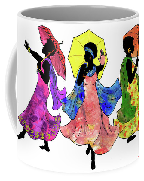 Umbrella Coffee Mug featuring the painting Umbrella Strut by Marcella Muhammad