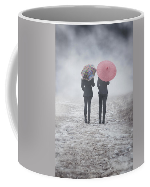 Girl Coffee Mug featuring the photograph Umbrellas In The Mist by Joana Kruse