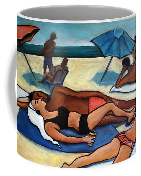 Beach Scene Coffee Mug featuring the painting Un Journee A La Plage by Valerie Vescovi
