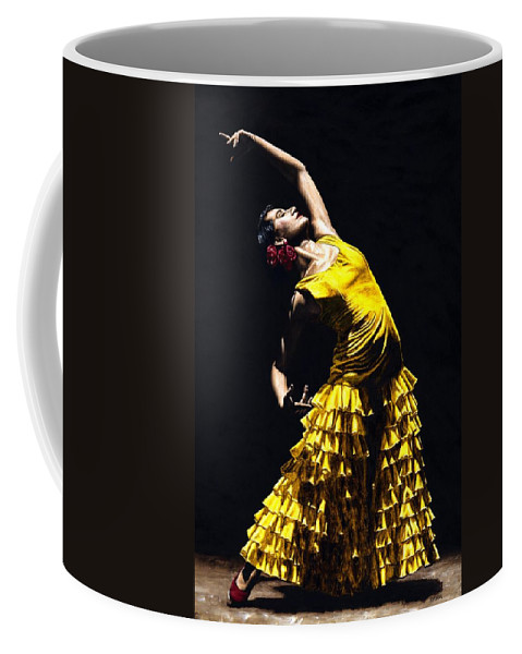 Flamenco Coffee Mug featuring the painting Un momento intenso del flamenco by Richard Young