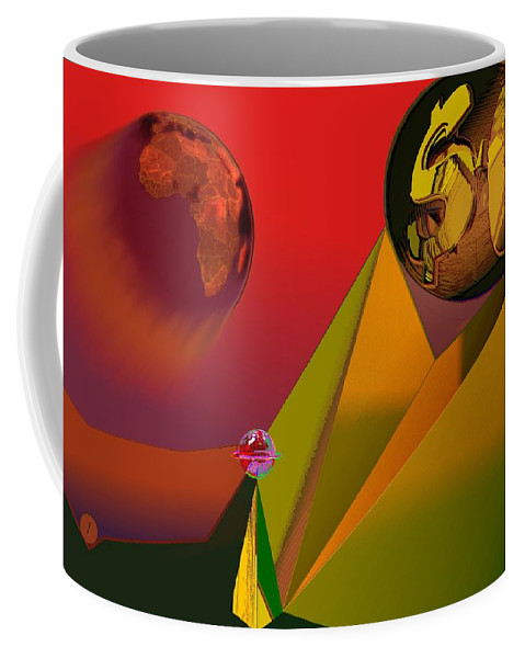 Earth Coffee Mug featuring the digital art Unbalanced-the Source Of Violence by Helmut Rottler