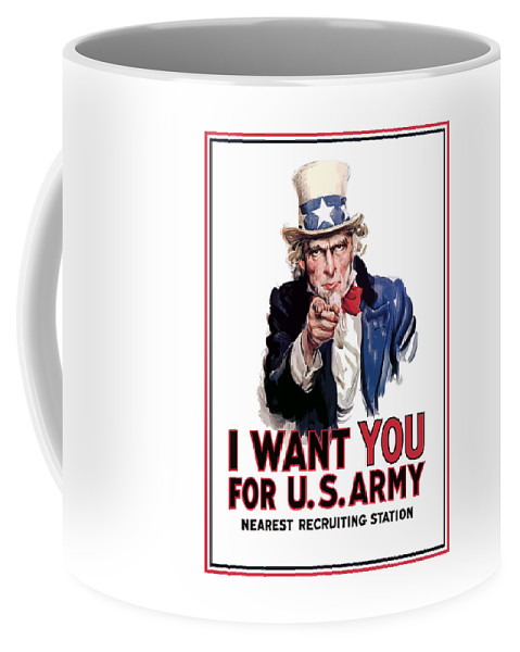 Ww2 Coffee Mug featuring the painting Uncle Sam -- I Want You by War Is Hell Store