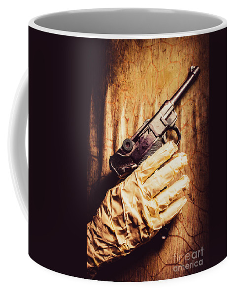 Curse Coffee Mug featuring the photograph Undead Mummy Holding Handgun Against Wooden Wall by Jorgo Photography - Wall Art Gallery