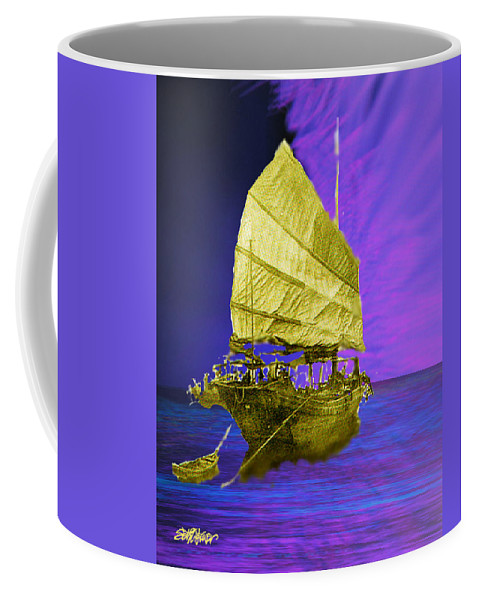 Nautical Coffee Mug featuring the digital art Under Golden Sails by Seth Weaver