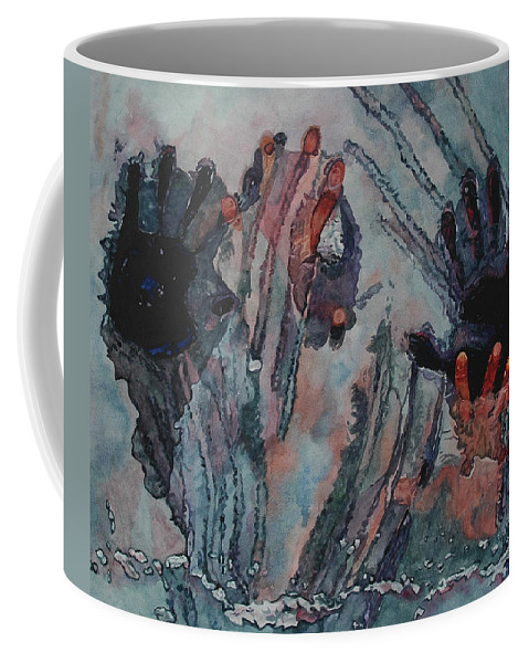 Underneath Coffee Mug featuring the painting Under Ice by Valerie Patterson