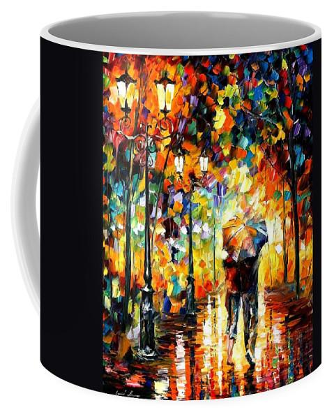 Afremov Coffee Mug featuring the painting Under One Umbrella by Leonid Afremov