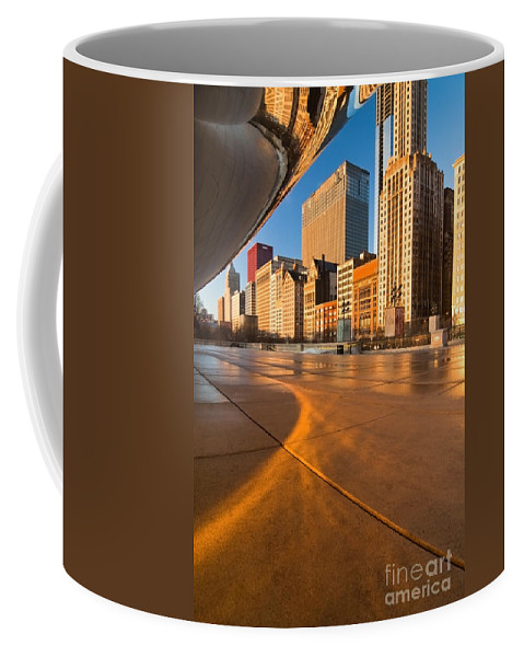 Chicago Coffee Mug featuring the photograph Under The Bean And Chicago Skyline At Sunrise by Sven Brogren