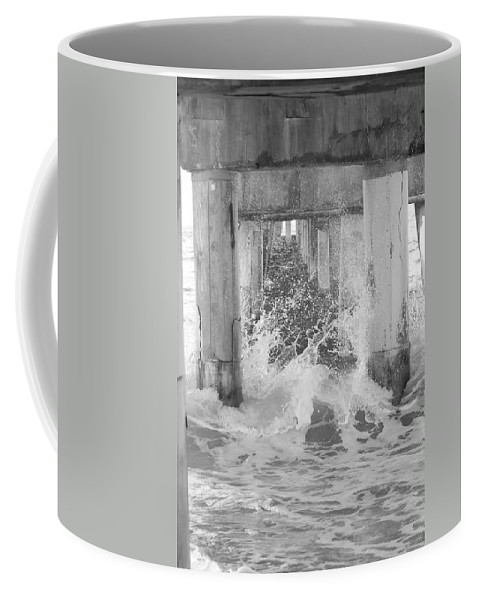 Black And White Coffee Mug featuring the photograph Under The Boardwalk by Rob Hans
