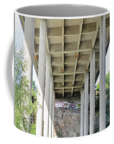 Cliffs Coffee Mug featuring the photograph Under The Bridge by Rosita Larsson