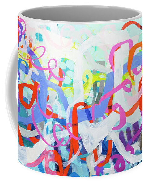 Abstract Coffee Mug featuring the painting Under The Electric Candelabra by Claire Desjardins