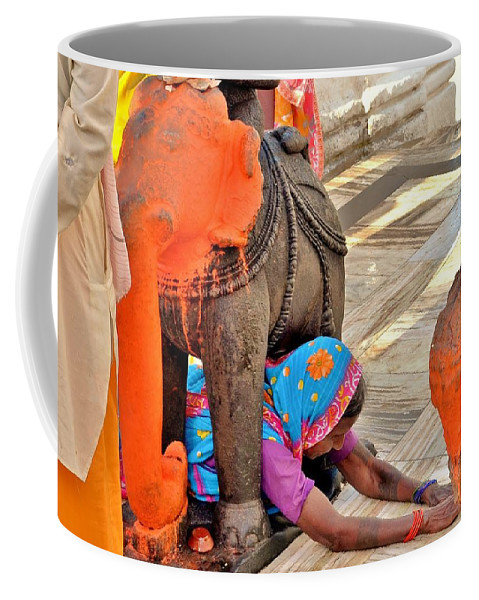 Under The Elephant Narmada Temple At Arkantak India Coffee Mug For Sale By Kim Bemis