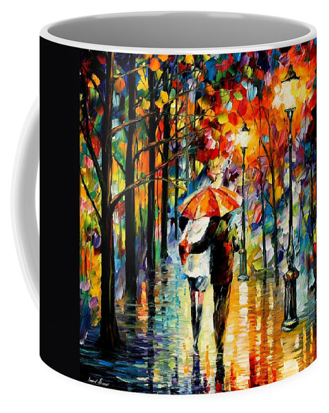Afremov Coffee Mug featuring the painting Under The Red Umbrella by Leonid Afremov