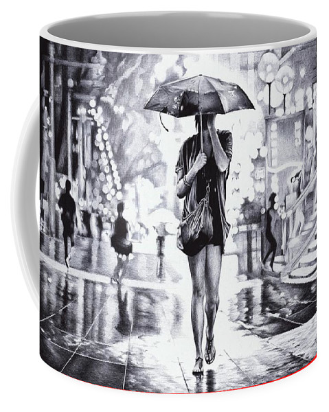 Ballpoint Coffee Mug featuring the drawing Under The Umbrella - Ballpoint Pen Art by Andrey Poletaev