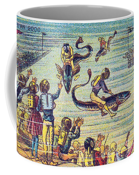 Science Coffee Mug featuring the photograph Underwater Race, 1900s French Postcard by Science Source