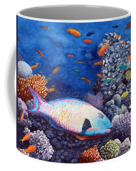 Fish Coffee Mug featuring the painting Underwater Treasures by Sharon Farber