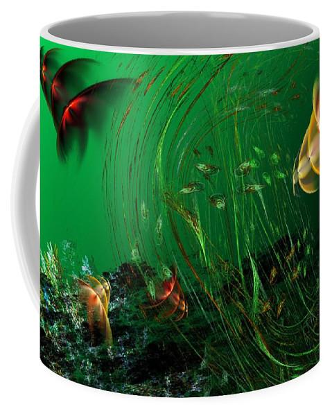 Fantasy Coffee Mug featuring the digital art Underwater Wonderland Diving The Reef Series. by David Lane