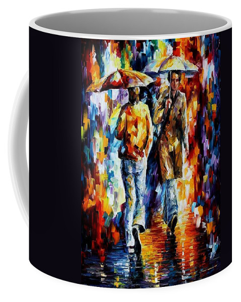 Afremov Coffee Mug featuring the painting Unexpected Meeting by Leonid Afremov