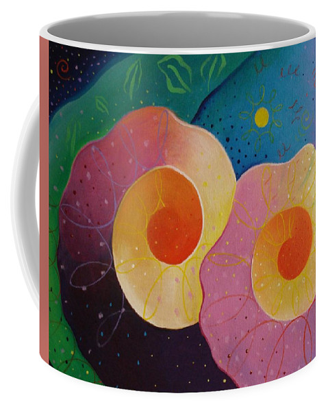 Universal Coffee Mug featuring the painting Unfolding by Helena Tiainen