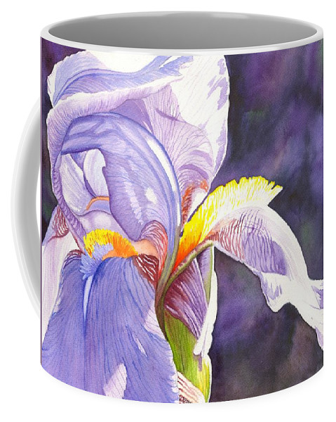 Iris Coffee Mug featuring the painting Unfurling by Catherine G McElroy