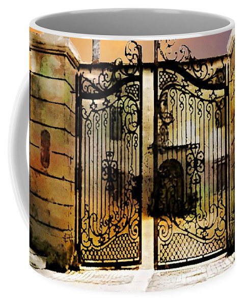 Iron Gate Coffee Mug featuring the digital art Unguarded Moment by Ellen Cannon