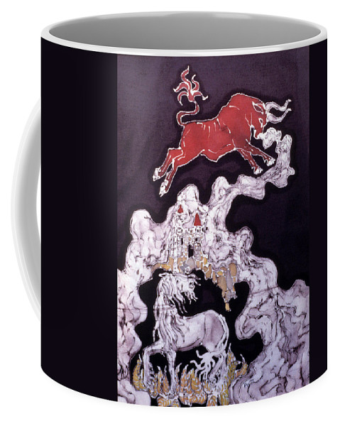Unicorn Coffee Mug featuring the tapestry - textile Unicorn And Red Bull by Carol Law Conklin
