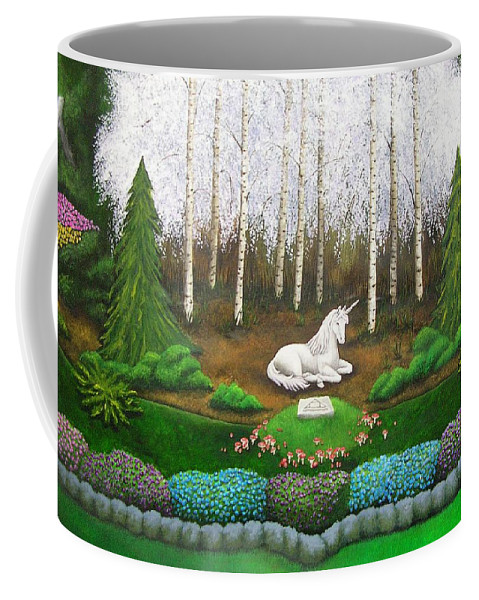 Unicorn Coffee Mug featuring the painting Unicorn by Cindy D Chinn