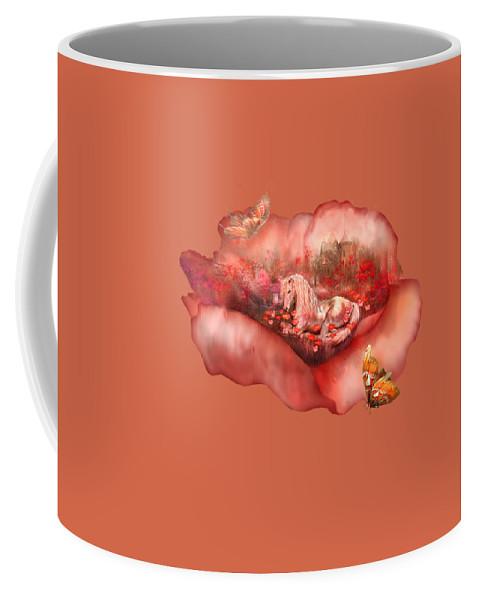 Unicorn Coffee Mug featuring the mixed media Unicorn Of The Poppies by Carol Cavalaris