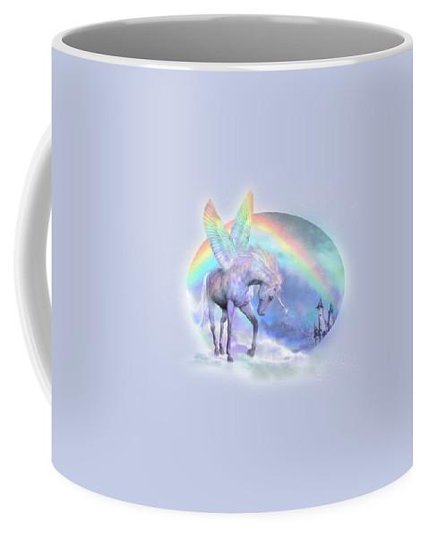 Unicorn Coffee Mug featuring the mixed media Unicorn Of The Rainbow by Carol Cavalaris