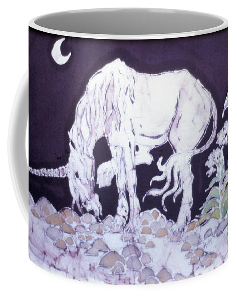 Unicorn Coffee Mug featuring the tapestry - textile Unicorn Pauses by Carol Law Conklin