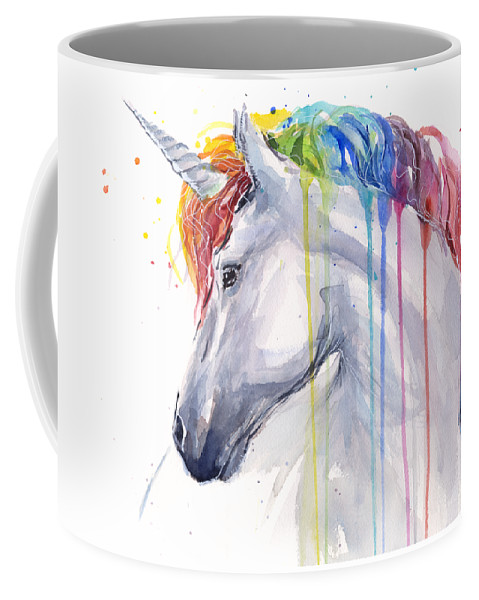 Magical Coffee Mug featuring the painting Unicorn Rainbow Watercolor by Olga Shvartsur