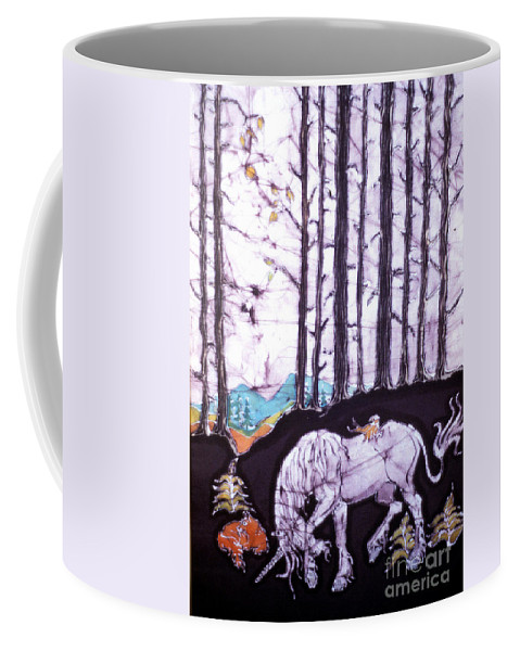 Unicorn Coffee Mug featuring the tapestry - textile Unicorn Rests In The Forest With Fox And Bird by Carol Law Conklin