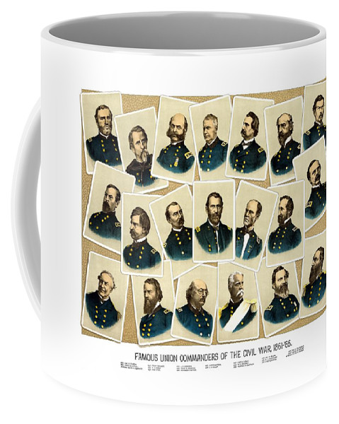 Civil War Coffee Mug featuring the painting Union Commanders Of The Civil War by War Is Hell Store