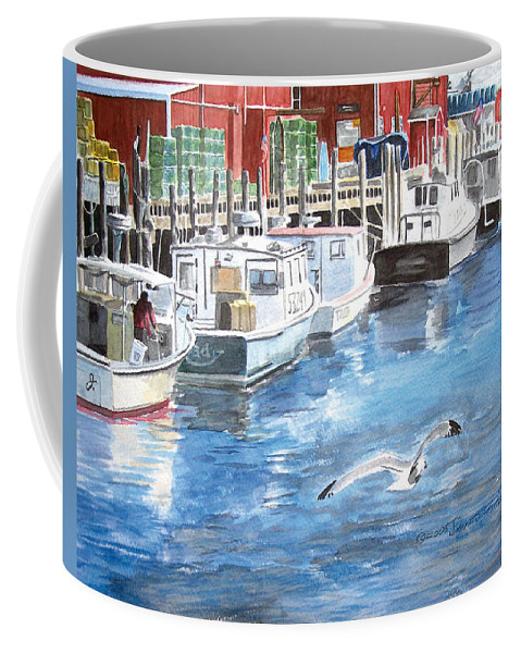 Seagull Coffee Mug featuring the painting Union Wharf by Dominic White