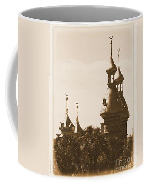 Tampa Coffee Mug featuring the photograph University Of Tampa Minarets With Old Postcard Framing by Carol Groenen