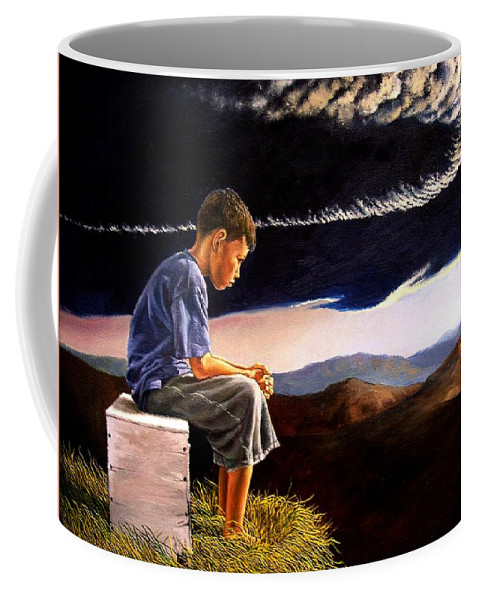 Mountain Coffee Mug featuring the painting Unscarred Mountain by Christopher Shellhammer
