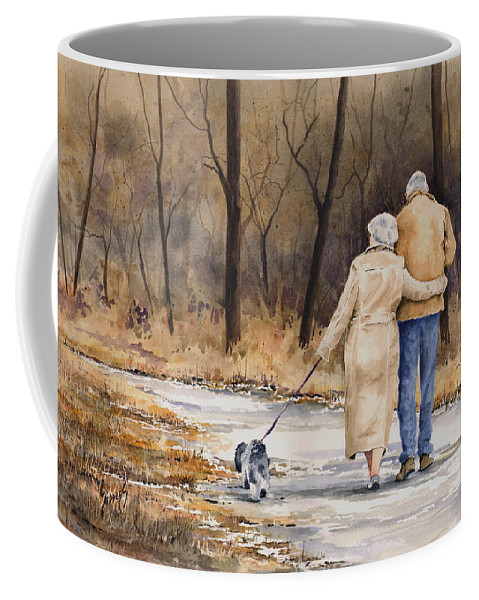 Autumn Coffee Mug featuring the painting Unspoken Love by Sam Sidders
