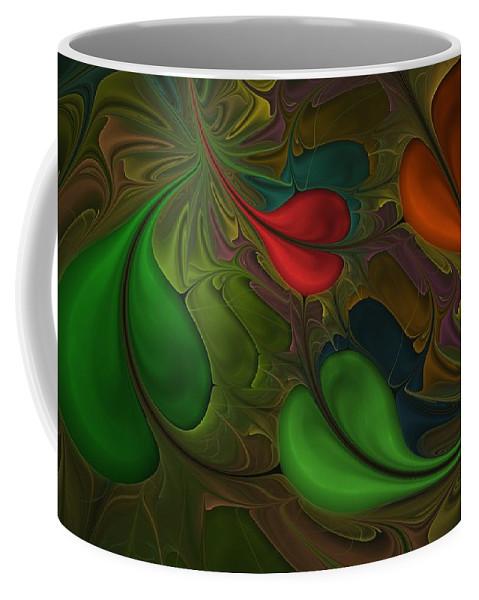 Digital Painting Coffee Mug featuring the digital art Untitled 1-26-10 Orang And Green by David Lane
