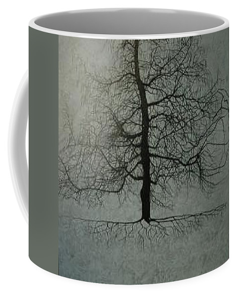 Silhouette Coffee Mug featuring the painting Untitled Blue by Leah Tomaino