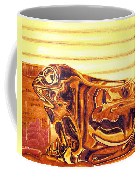 Frog Coffee Mug featuring the painting Untitled by Judy Henninger