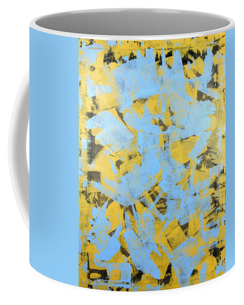 Yellow Coffee Mug featuring the painting Untitled No.19 by Julie Niemela