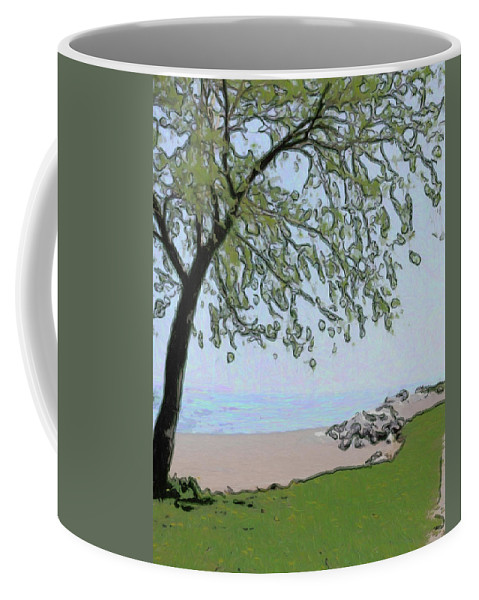 Beach Coffee Mug featuring the digital art Try And Catch The Wind by Leslie Montgomery