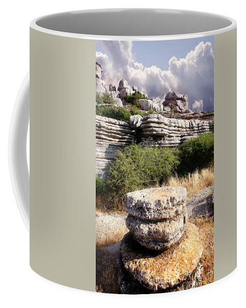 Limestone Coffee Mug featuring the photograph Unusual Rock Formations In The El Torcal Mountains Near Antequera Spain by Mal Bray