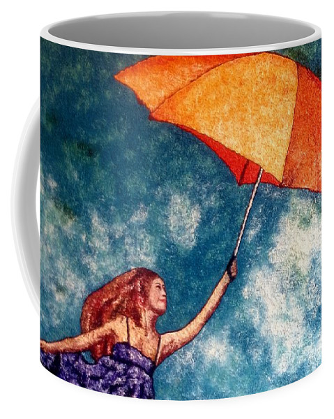 Sky Coffee Mug featuring the painting Up And Away by Meenakshi Malhotra