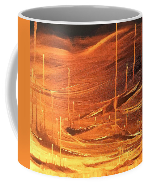 Fire Coffee Mug featuring the painting Up From Below by Tracy Ann Delfar