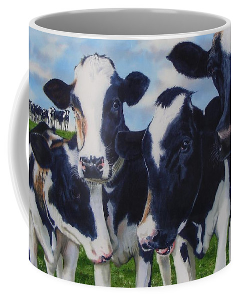 Cows Coffee Mug featuring the painting Up Front by Denny Bond